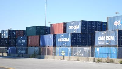 Storage containers on loading dock