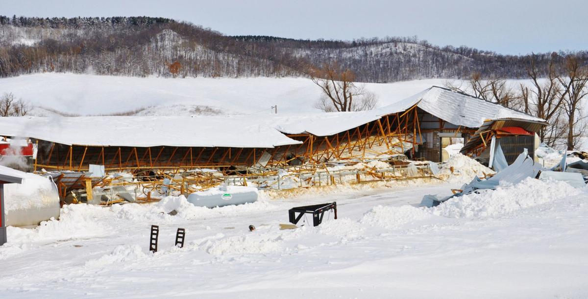 Barn collapses from snow