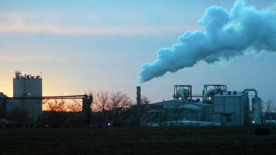 Ethanol company at sunset