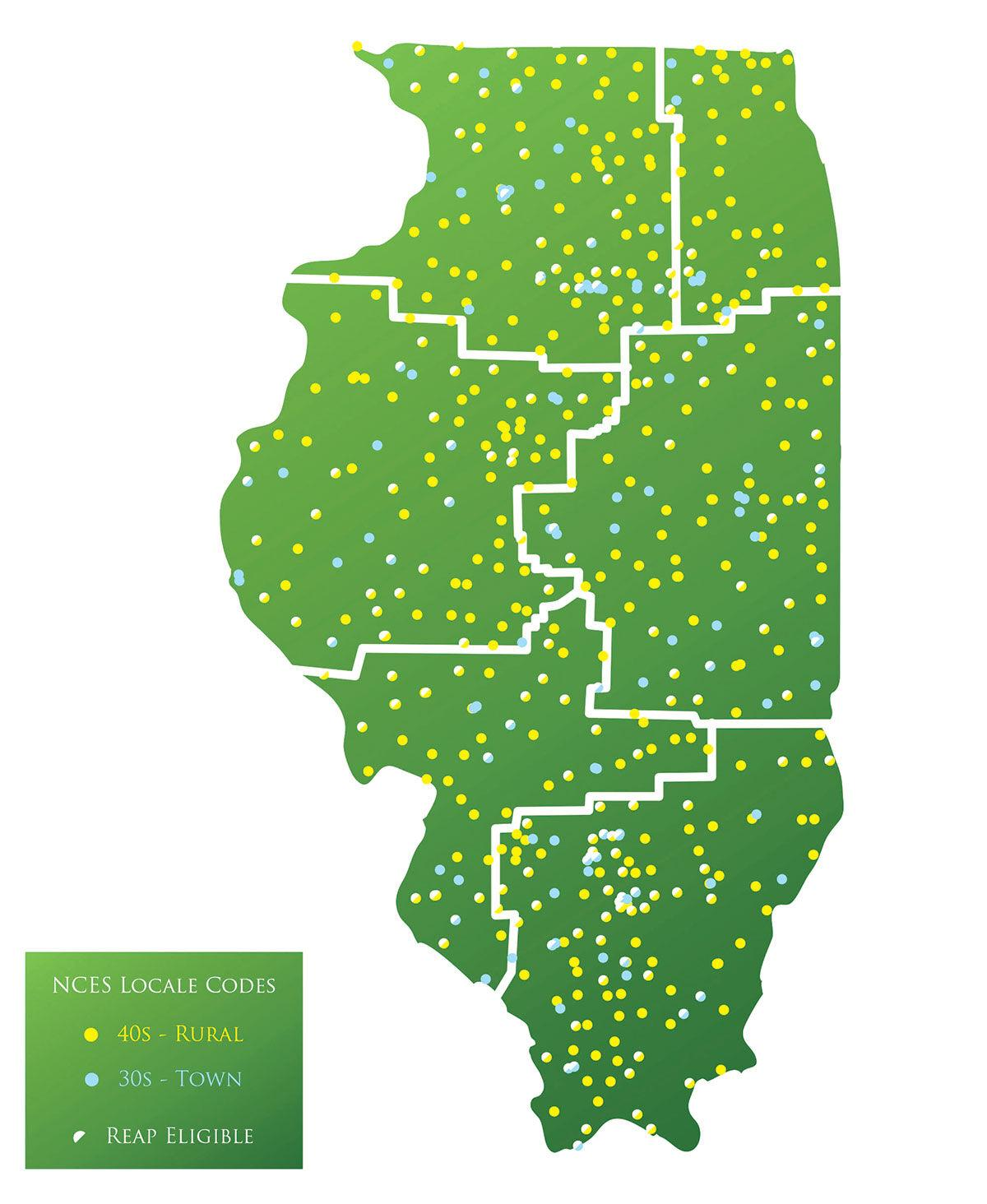 Map of Illinois Rural and Small Schools