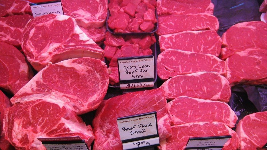 Beef in grocery case