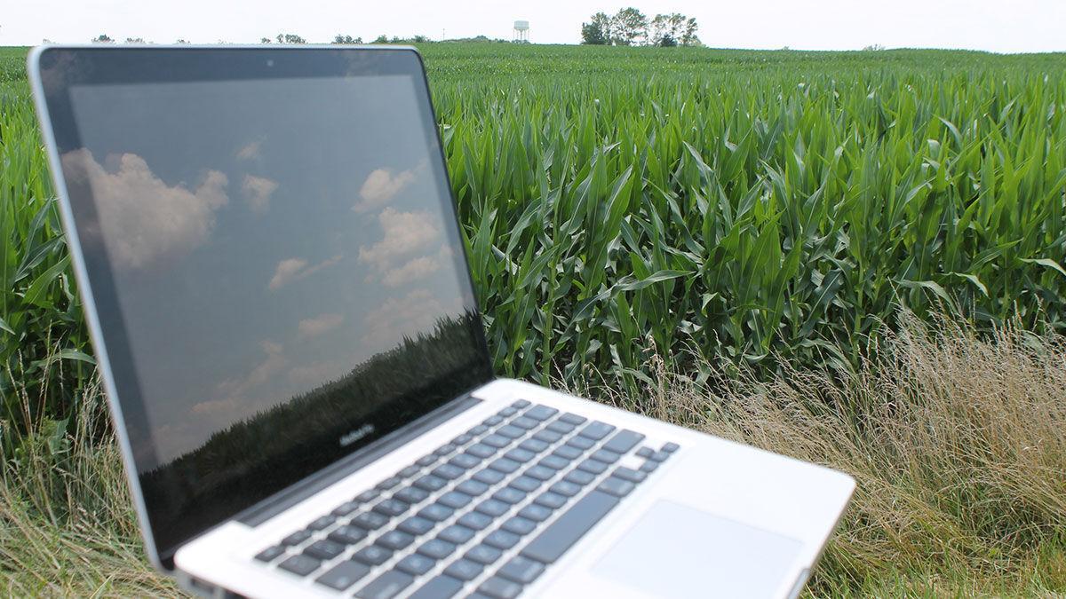 Laptop in field