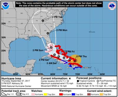 Hurricane Irma's probable path