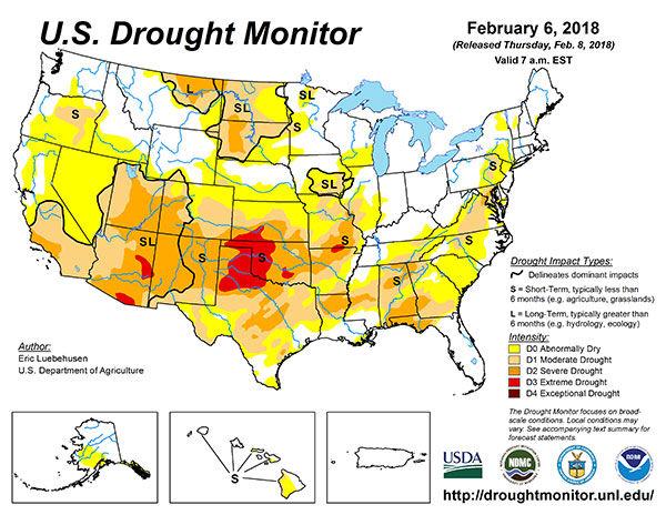 U.S. Drought Monitor Map 2/6/18 | National | agupdate.com