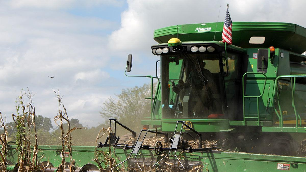 American flag attached to the combine