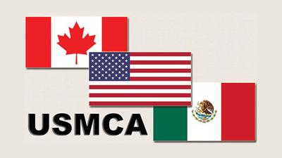 USMCA with 3 flags
