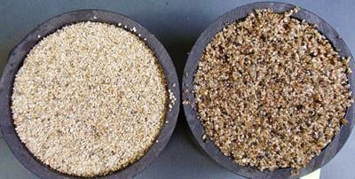 Uncoated, coated sand comparison