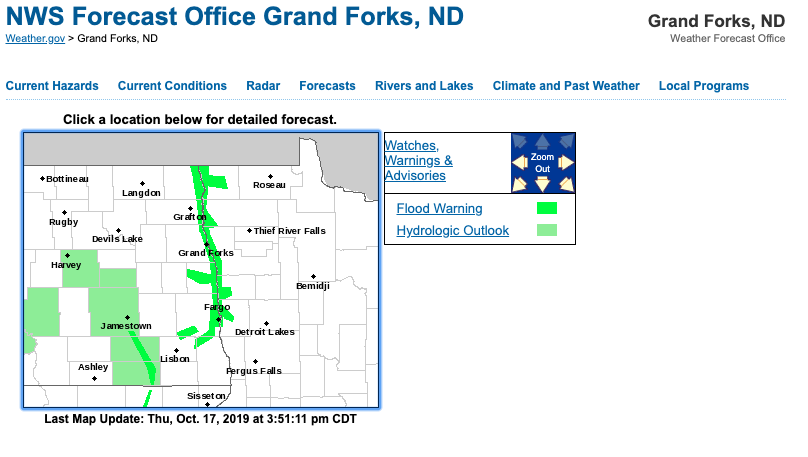 National Weather Service screen shot of Grand Forks, N.D. flooding on Oct. 17, 2019