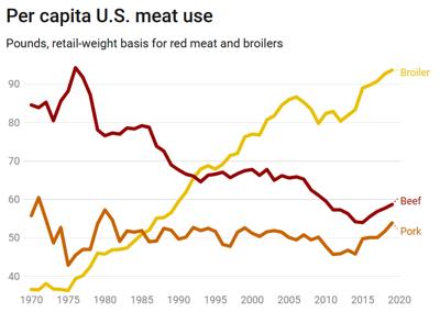 Per capita U.S. meat use