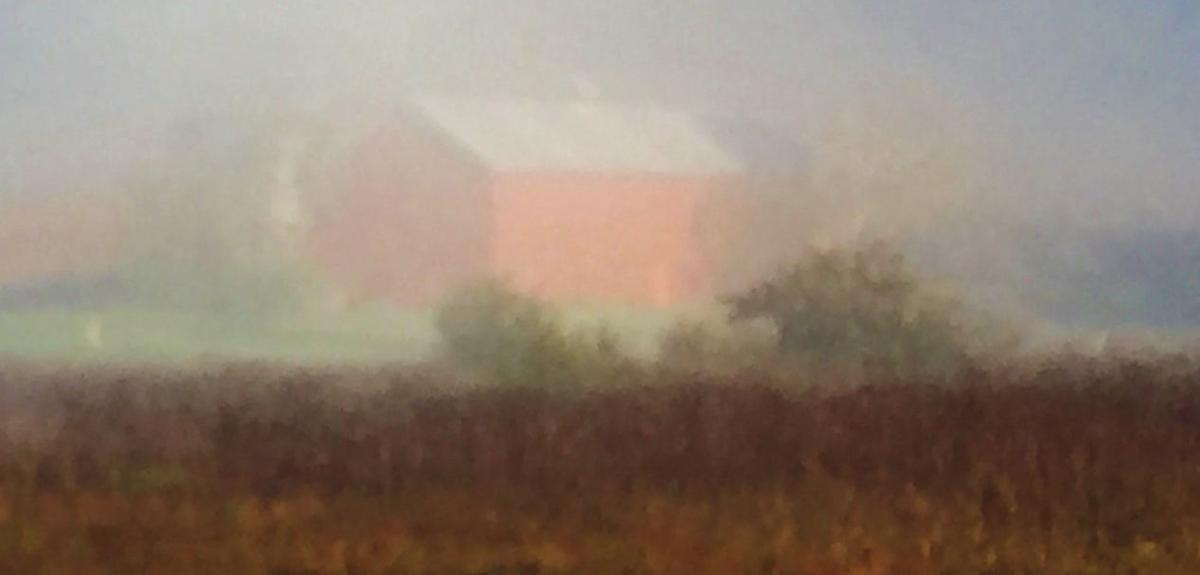 A barn built by the Nelson family in Beaver Creek Valley is shrouded in early-morning fog.
