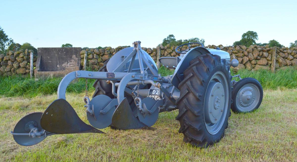 1944 Ford Ferguson tractor has a plow