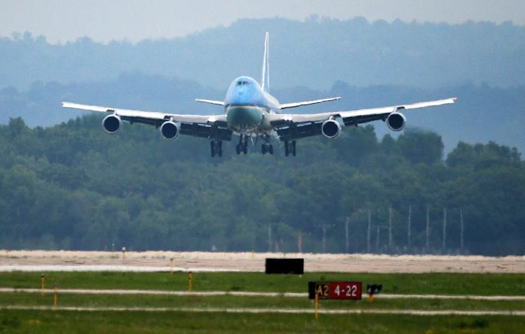 Air Force One arrives