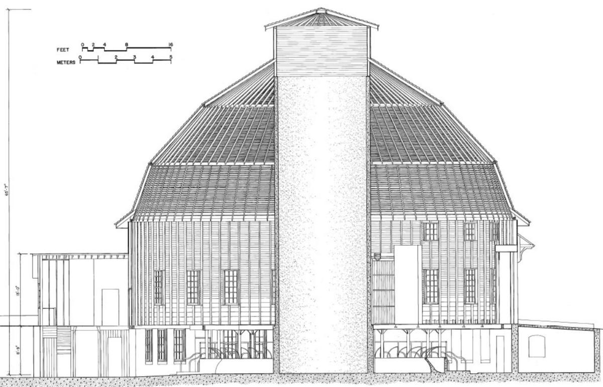 A scale drawing shows the dimensions of the University of Illinois 1912 Dairy Experiment Barn.
