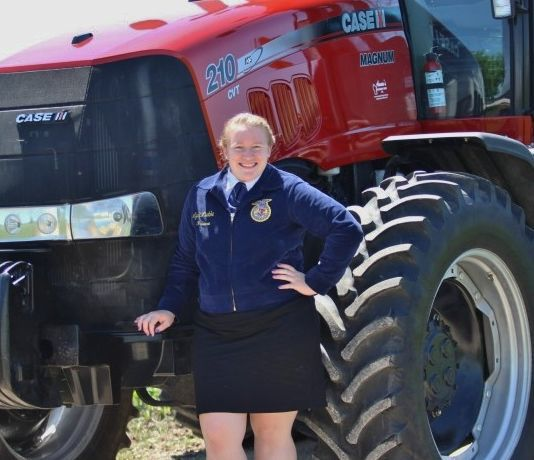 Lydia Janet Luebke by tractor