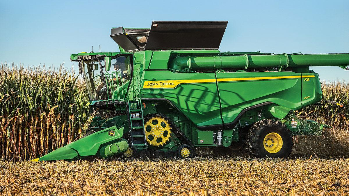 John Deere X9 Combine and C16F Folding Corn Head