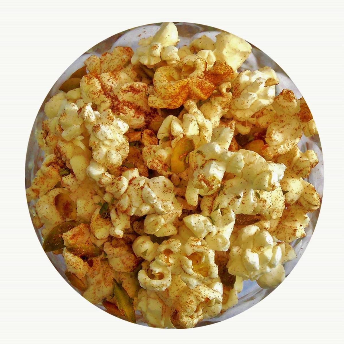 Smoky Spanish Almond Popcorn with pepitas