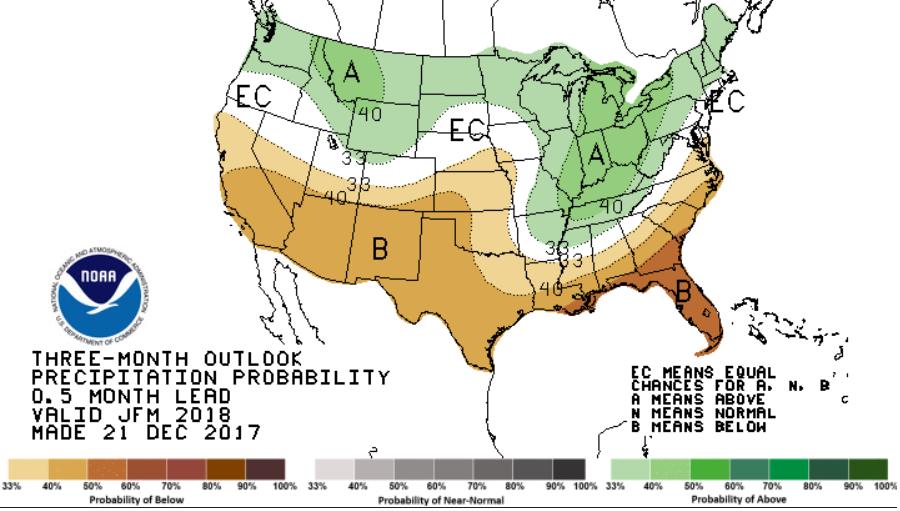 January-March precip forecast