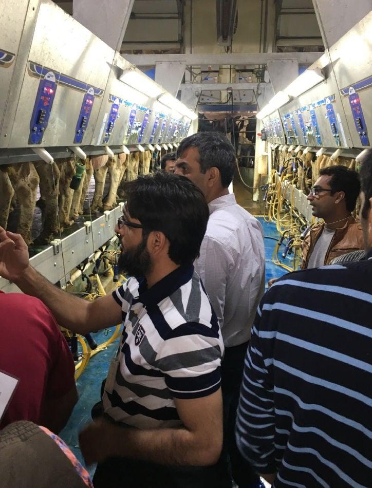Pakistani group on milking parlor tour