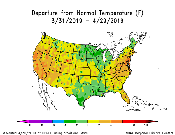 NOAA temps 3-31-19 to 4-29-19