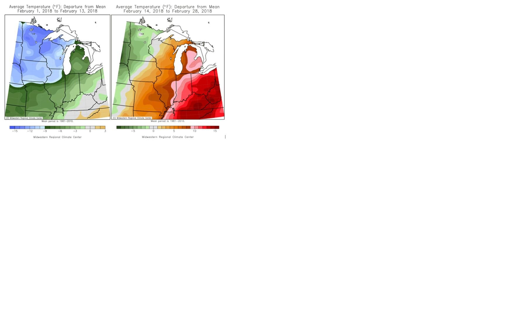 February temperatures vs normal