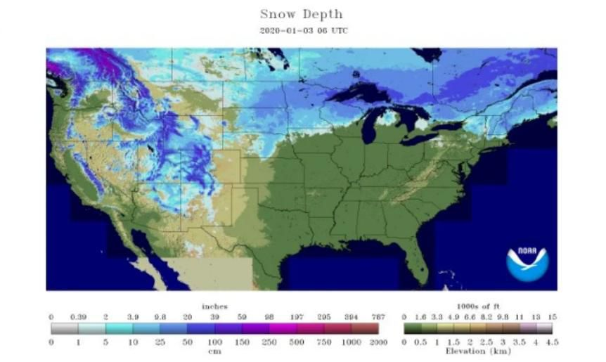 Snow depth January 2020
