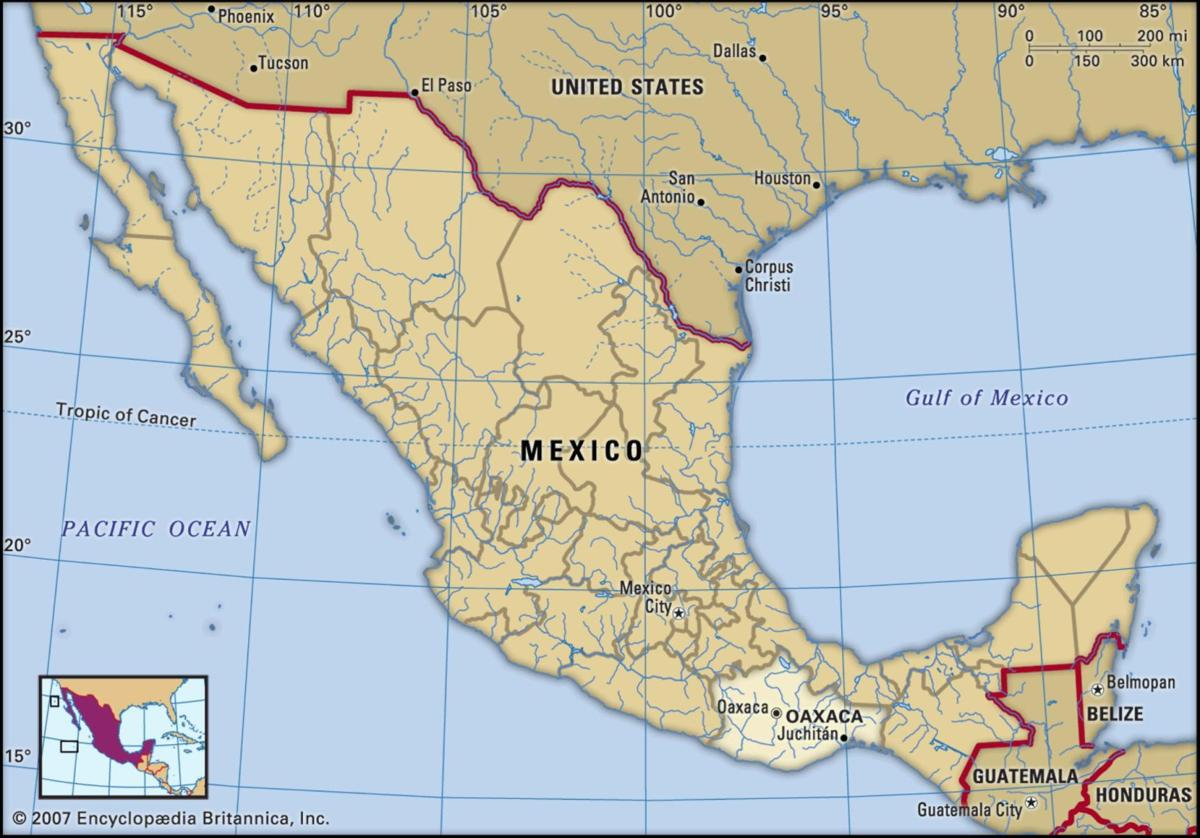 Guajaca Mexico Map.Map Of Oaxaca Mexico Agupdate Com