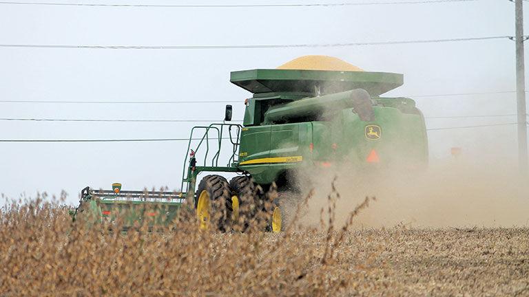 Bruce Snyder harvests soybeans