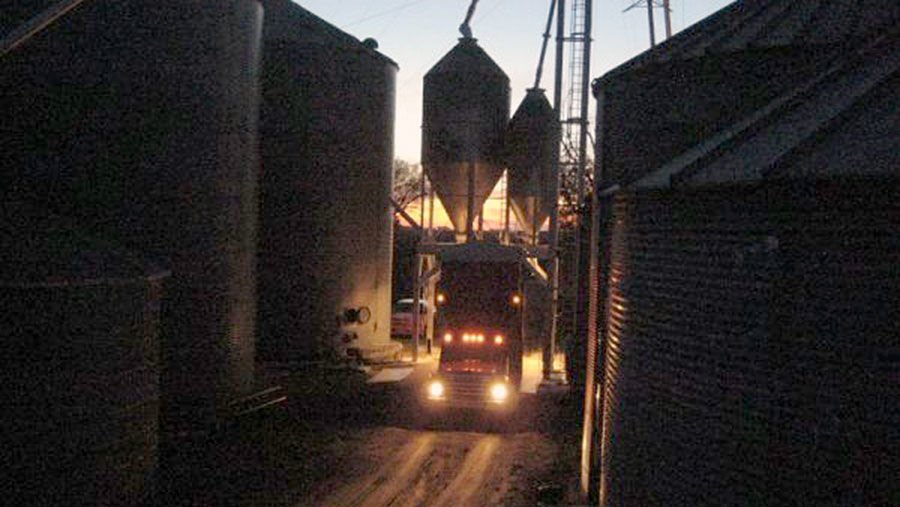 Grain unloading at night