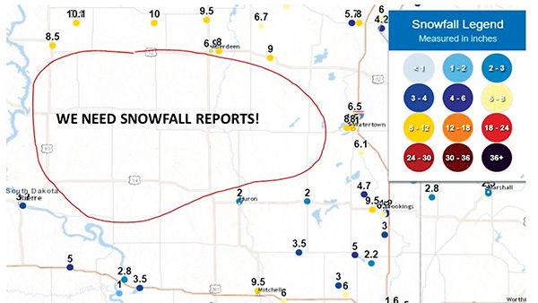 South Dakota NWS data gap map