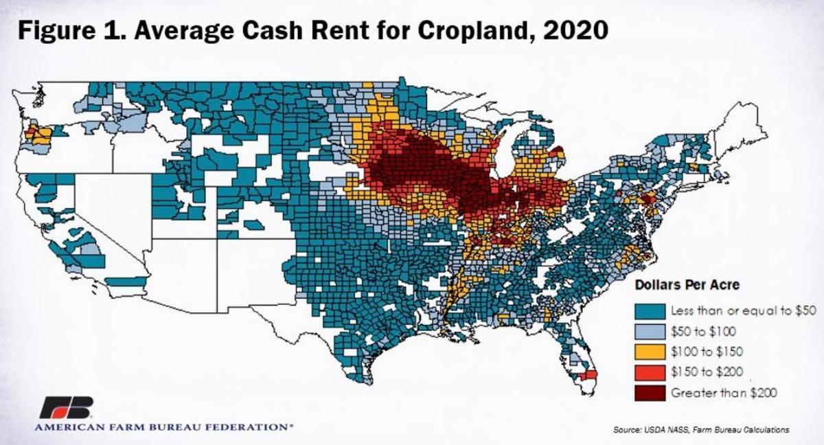 Average Cash Rent for Cropland 2020