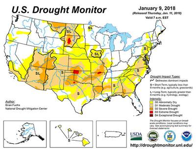 U.S. Drought Monitor Map 1/9/18   News   agupdate.com