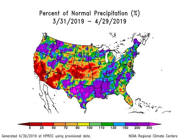 NOAA precipitation 3-31-19 to 4-29-19