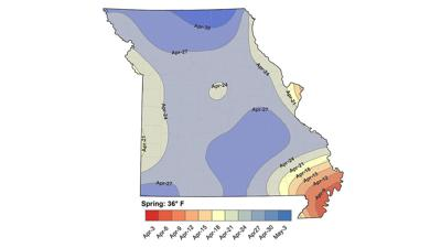 Missouri frost dates map