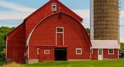 Large dairy barn with silo