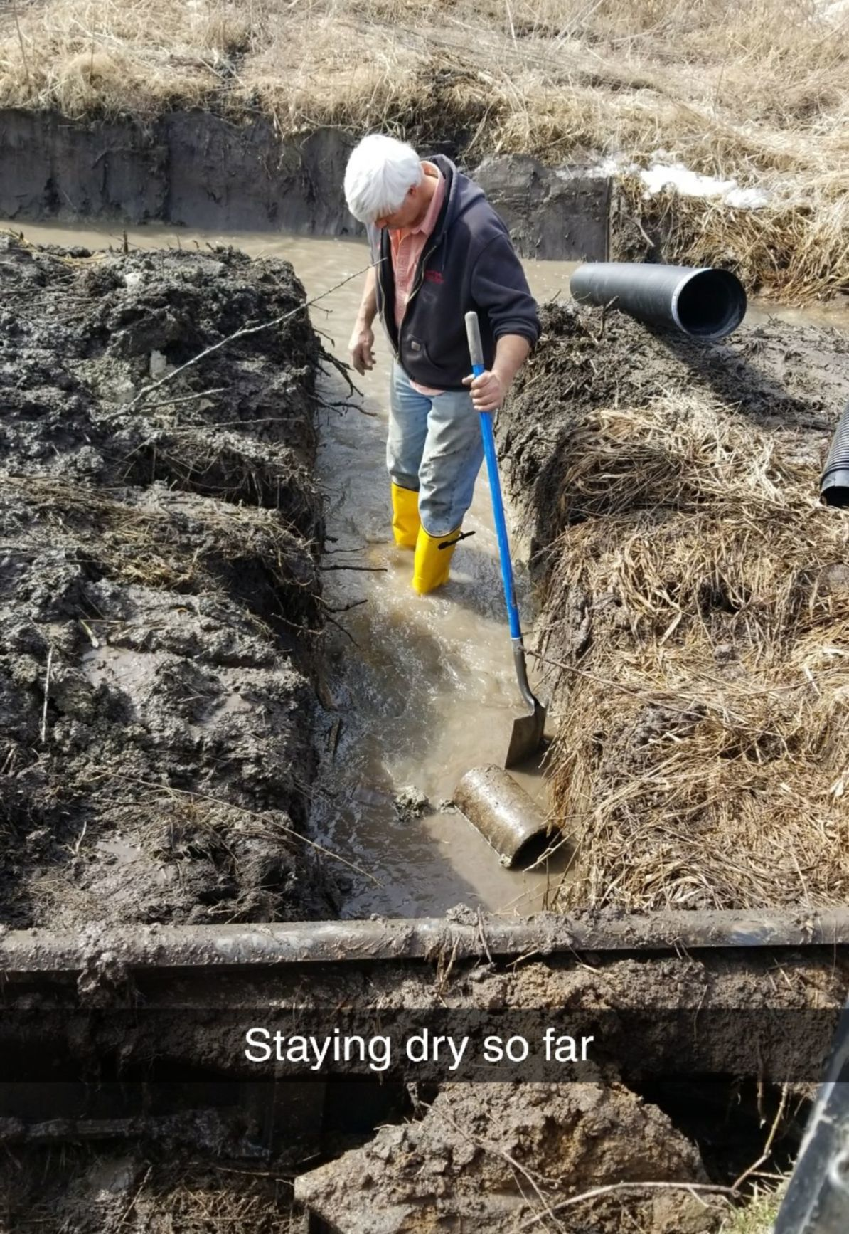 Mike Walter in drainage trench