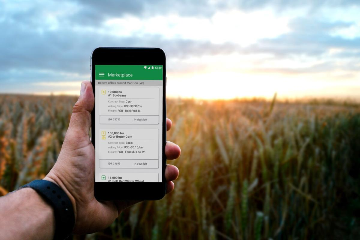 FarmLead grain marketing deal on cell phone