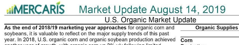 Mercaris organic-markets update as of Aug. 14, 2019, part 1