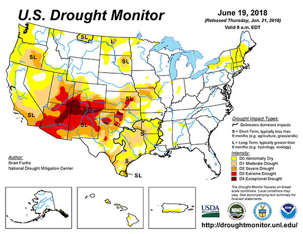 U.S. Drought Monitor Map 6/19/18 | Crop | agupdate.com on united states national map, united states satellite map, united states road conditions map, united states extreme weather map, united states radar map, united states temperature map, united states annual rainfall map, united states air quality map, united states canada map, united states earthquakes map, united states severe weather map, united states precipitation map, united states uv index map, united states forecast map, united states lightning map, united states surface map, united states wind map,