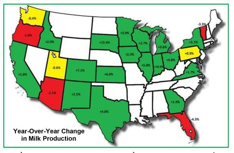 Year over Year Change in Milk Production by State
