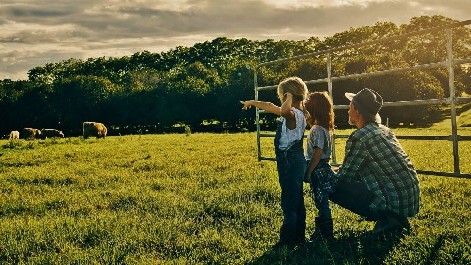 Farmer with children
