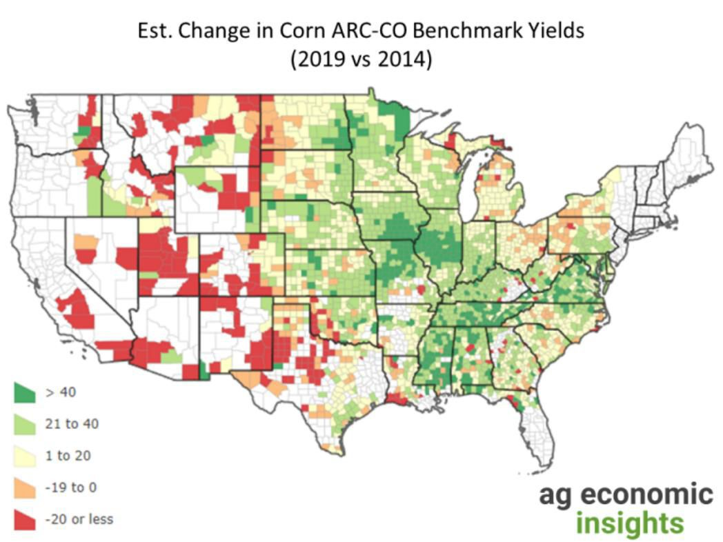 Figure 1. Estimated Change in Corn Agriculture Risk Coverage-County Benchmark Yields, 2019 vs 2014. Data Source: USDA Farm Service Agency, Kansas State University AgManager.info and aei.ag calculations