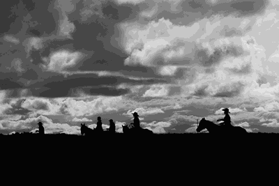 silhouette of horse riders