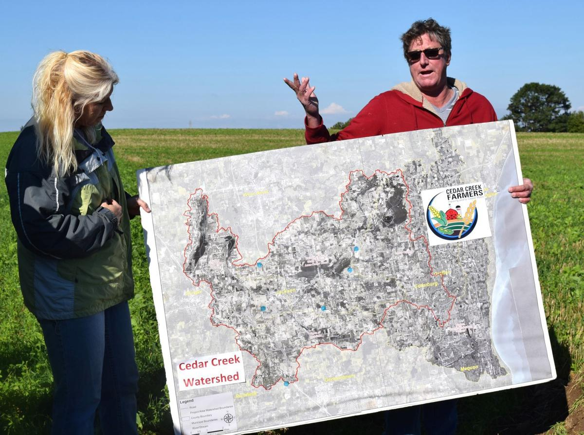 Stephanie Egner and Al Schmidt with watershed map