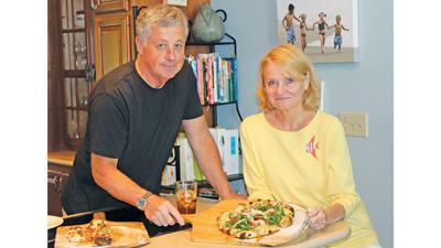 Chuck and Marsha Albritton with a Pizzasalada