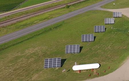 Blue Horizon Energy solar panels on a summer day
