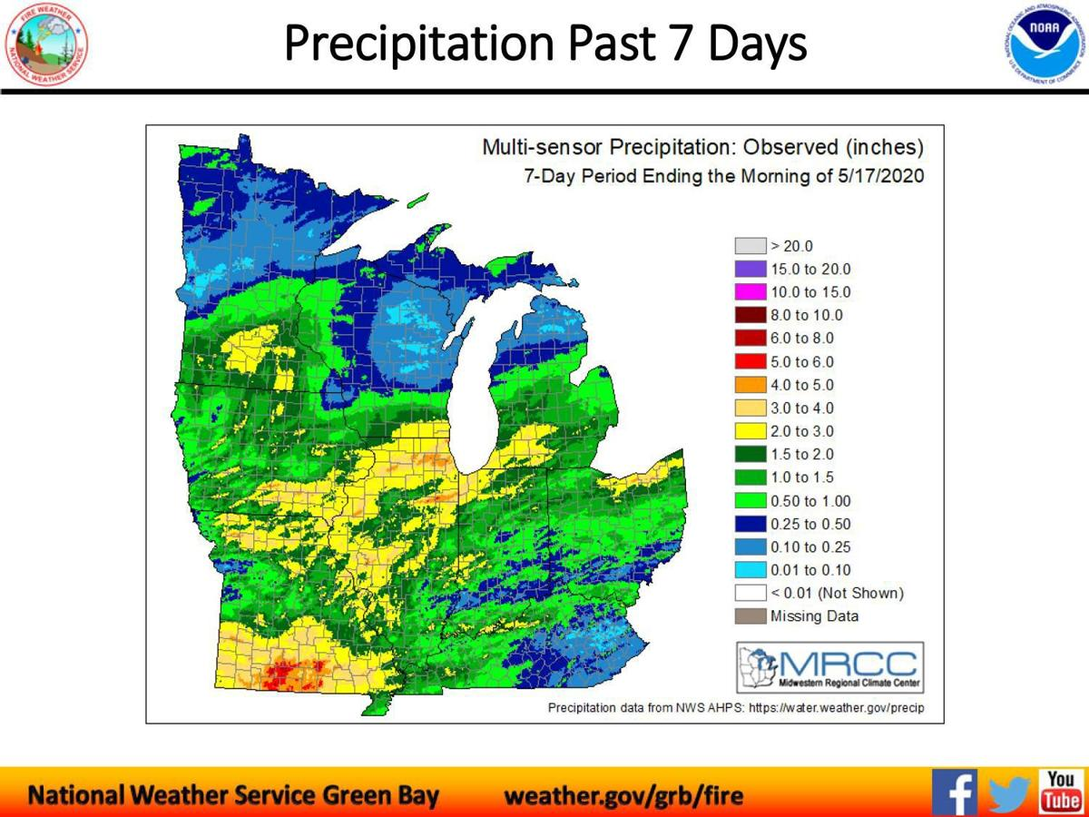 Precipitation past seven days May 18, 2020
