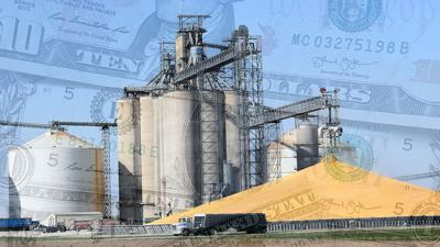 Corn with elevator and ghosted money