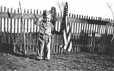Saluting the American flag