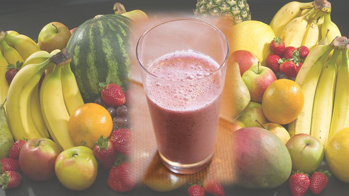 Smoothie with fruit background