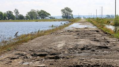 Flood road damage